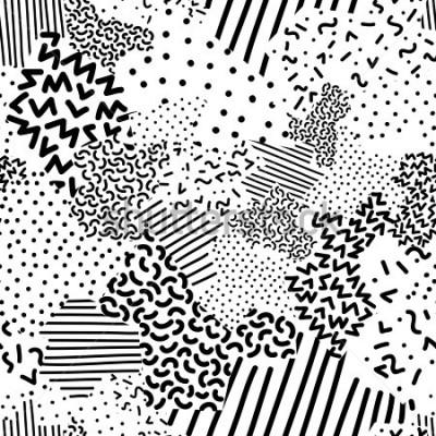 Carta da parati Seamless geometric pattern in memphis style