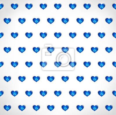 Seamless Geometrico Poligonale Sfondo Blu Cuori Carta Da Parati