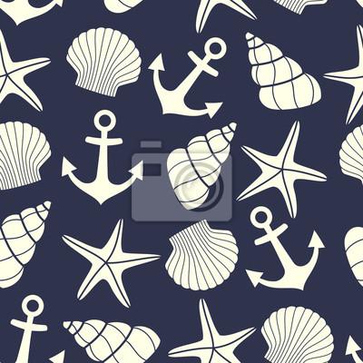 Seamless Nautico Con Le Stelle Marine Conchiglie Ancoraggio Carta