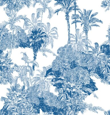 Carta da parati Seamless Pattern Blue and White Cobalt Tropical Jungles with Palms and Mountains, Blue Rainforest Toile Print, Tropical Engraving Illustration Wallpaper Mural, Classic Hand Drawn Landscape Design