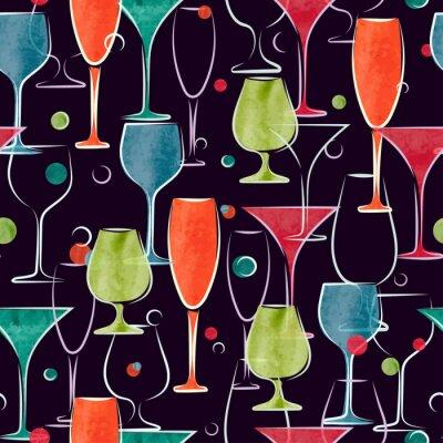 Carta da parati Seamless pattern con acquerello colorato bicchieri da cocktail. Vector background.