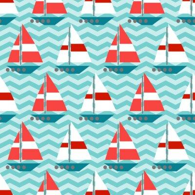 Carta da parati Seamless pattern con barche a vela sulle onde