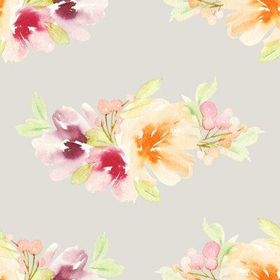 Carta da parati Seamless pattern con fiori acquerello. colori delicati.
