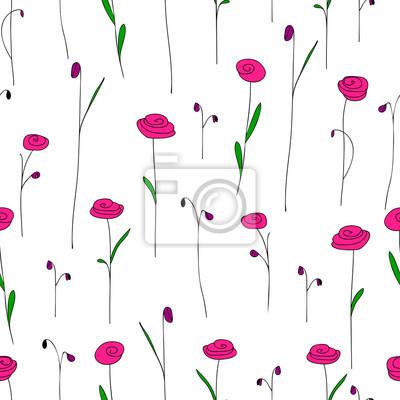 Seamless Pattern Con Fiori Di Colore Rosa Brillante Carino Sfondo