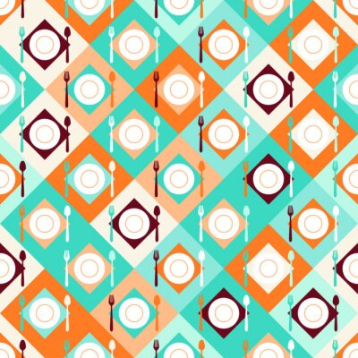 Carta da parati Seamless pattern con forchette, cucchiai e piatti in stile retrò.
