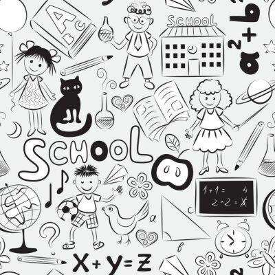 Carta da parati Seamless pattern con il tema scuola