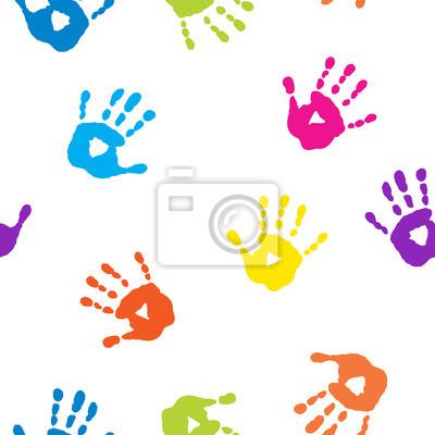 5dbebc3d77 Carta da parati: Seamless pattern con impronte di mani colorate