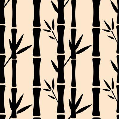 Carta da parati Seamless pattern con sagome nere alberi di bambù