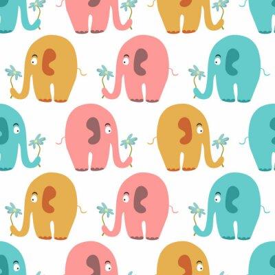 Carta da parati Seamless pattern con simpatici animali colorati