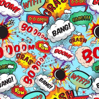 Carta da parati Seamless pattern di discorso comico bolle