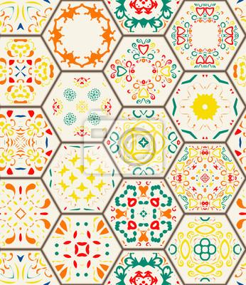 Seamless pattern elementi decorativi depoca disegnato a for Parati decorativi