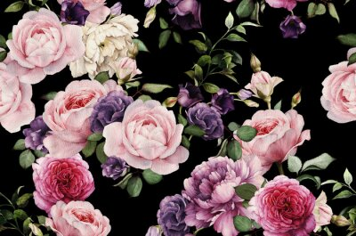 Carta da parati Seamless pattern floreale con rose, acquerello