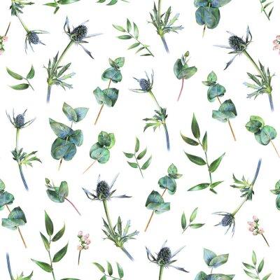 Carta da parati Seamless pattern floreale con verde eucalipto, alghe e foglie di rusco su bianco. Piante primaverili Sfondo naturale botanico disegnato a mano con matita colorata