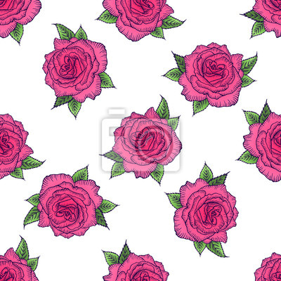Seamless Pattern Floreale Rosa Modello Salito Su Uno Sfondo Carta