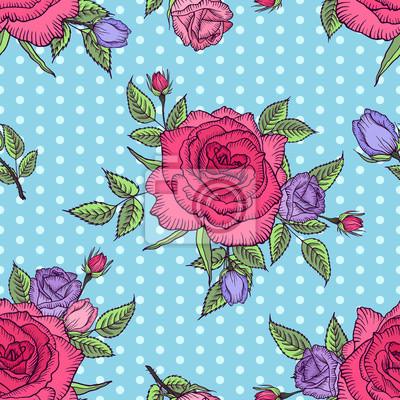 Seamless Pattern Floreale Rosa Su Sfondo Blu Con Pois Rosa E Carta