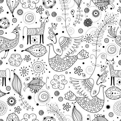 Carta da parati Seamless pattern grafico di animali favolosi