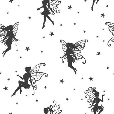 Carta da parati Seamless pattern magico con fate e stelle.
