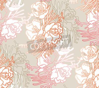 Carta da parati Seamless pattern of flowers. Floral illustration. Botanic atrwork.