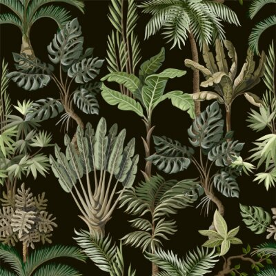 Carta da parati Seamless pattern with exotic trees such us palm, monstera and banana. Interior vintage wallpaper.
