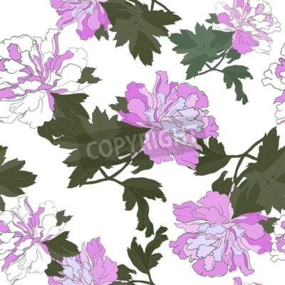 Carta da parati Seamless pattern with Flower Peony. Floral Design Vector illustration.