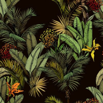 Carta da parati Seamless pattern with green tropical leaves and exotic flowers. Hand drawn vector illustration on black background.