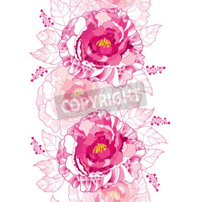 Carta da parati Seamless pattern with outline peony flower and ornate leaf in pastel pink colored on the white background. Floral vertical border with contour blossoming peonies for summer design.