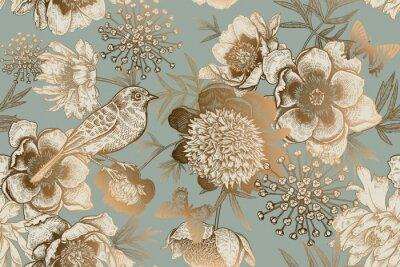 Carta da parati Seamless pattern with peonies, bird and butterflies. Vintage.