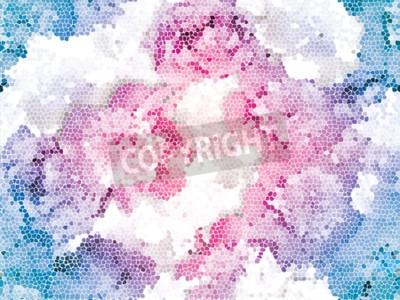 Carta da parati Seamless peony mosaic. Pink blue flower pattern. Peony texture