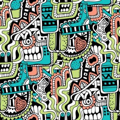 Carta da parati seamless texture Graffiti con mezzi di segni sociali e altre icone lucide. Illustrazione di vettore con il pattino, tv, bottiglia, cibo, mostri testa, foglie