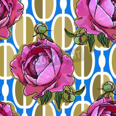 Carta da parati Seamless trend pattern - peony flower on ornamental background. Vintage style