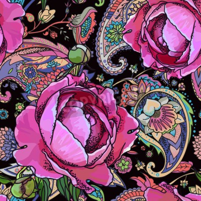Carta da parati Seamless trend pattern - peony flowers and paisley.