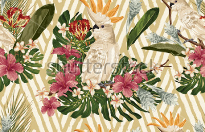 Carta da parati Seamless tropical pattern background with tropical flowers and cockatoo bird. Tropicana wallpaper, digital paper, raster illustration in vintage Hawaiian style.