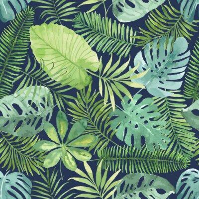 Carta da parati seamless tropicale con foglie. sfondo acquerello con foglie tropicali.