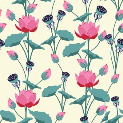 Carta da parati Seamless vector illustration with delicate lotus flowers.