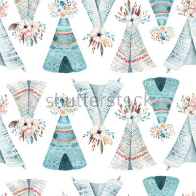 Carta da parati Seamless wallpaper with flowers and leaves, watercolor illustration. Design for invitation, wedding or greeting cards