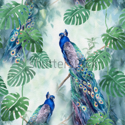 Carta da parati Seamless watercolor pattern with peacock