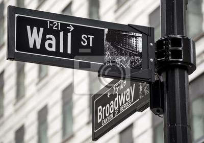 Carta da parati segno di Wall Street a New York City, Stati Uniti d'America.