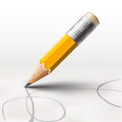 Carta da parati Semplice matita su sfondo bianco, vettoriale eps10.