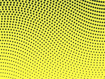 Carta da parati Semplice modello retrò ondulato mezzetinte di stelle nere su ba gialla