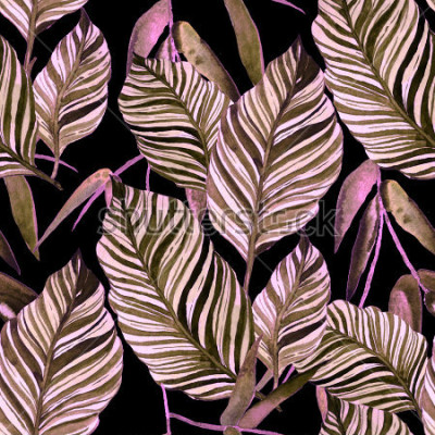 Carta da parati Senza cuciture dell'acquerello con foglie. Texture vintage