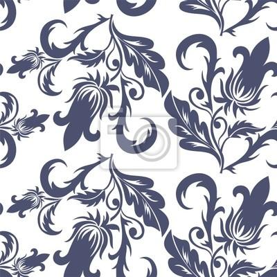 Senza Soluzione Di Blu Scuro Pattern Floreali Su Uno Sfondo Bianco