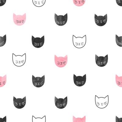 Carta da parati Senza soluzione di continuità carino modello di gatti. Vector background con teste acquerello gatto