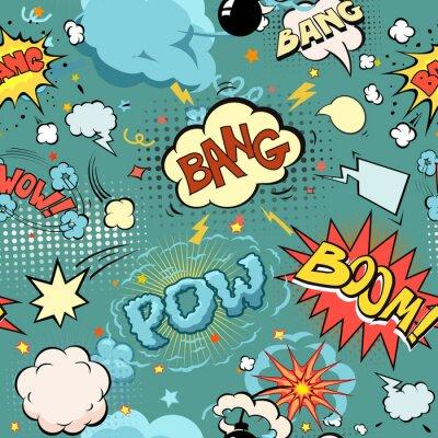 Carta da parati Senza soluzione di continuità Comic esplosione libro, bombe e Blast Set. Bolle di discorso, suoni diversi e frecce.
