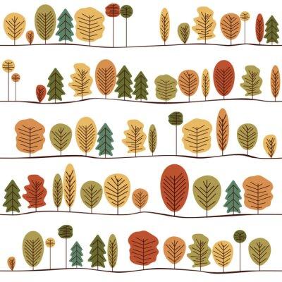 Carta da parati Senza soluzione di continuità Modello decorativo Texture Con Autunno Alberi. Colorful Seamless stilizzato Alberi.