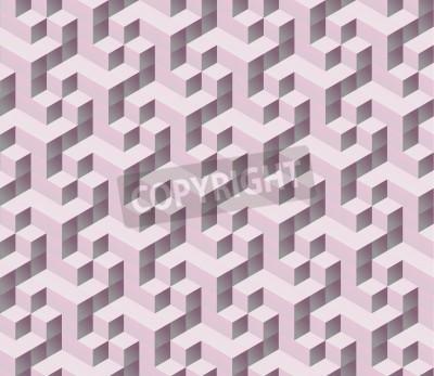 Carta da parati senza soluzione di continuità rosa 3d isometrico cubo seamless. Astratto sfondo geometrico colorato digitale.