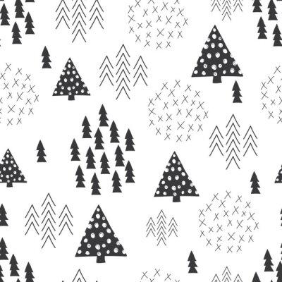 Carta da parati Senza soluzione di continuità scandinavo stile semplice illustrazione albero di Natale sfondo