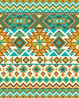 Carta da parati senza soluzione di sfondo luminoso con modello di pixel in azteco stile tribale geometrica. Illustrazione vettoriale. colori Pantone.