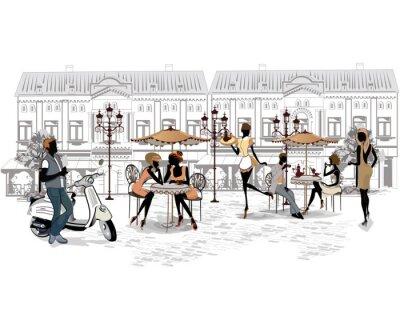 Carta da parati Serie delle strade con le persone e musicisti nella città vecchia