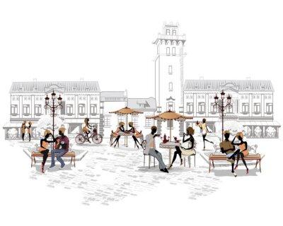 Carta da parati Serie di caffè all'aperto in città con gente che beve il caffè