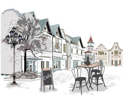 Carta da parati Serie di caffè di strada nella città vecchia